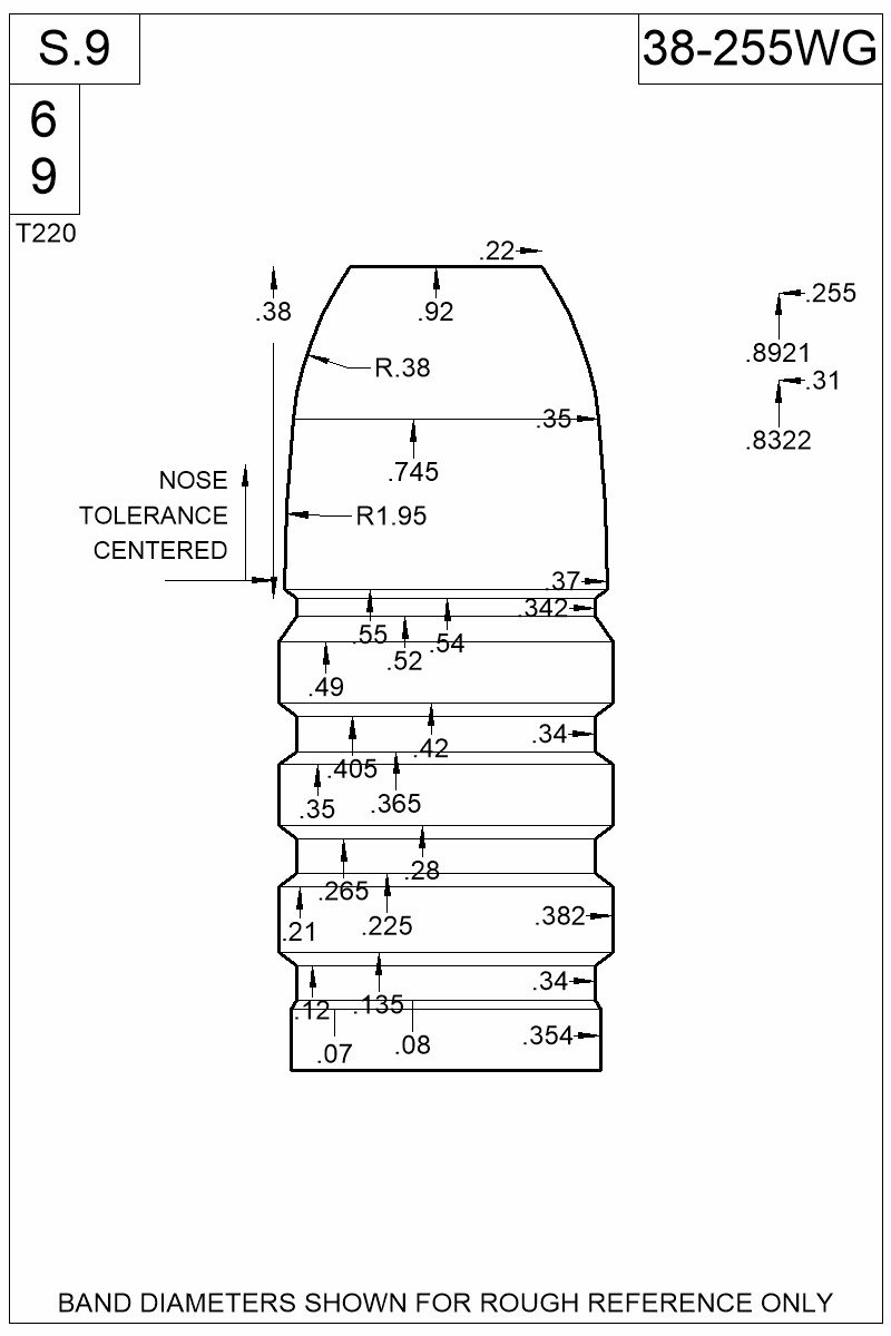 Dimensioned view of bullet 38-255WG.