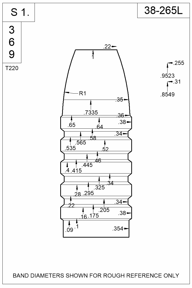 Dimensioned view of bullet 38-265L.