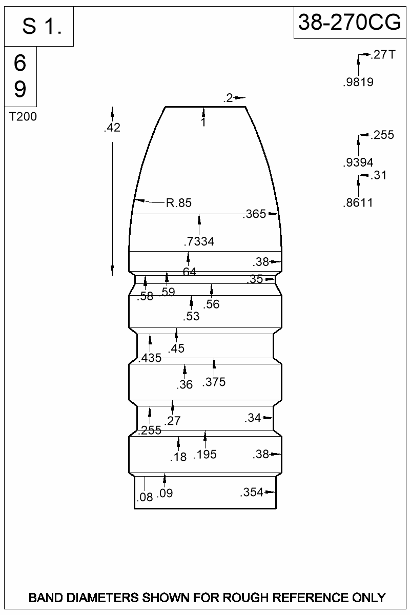 Dimensioned view of bullet 38-270CG.