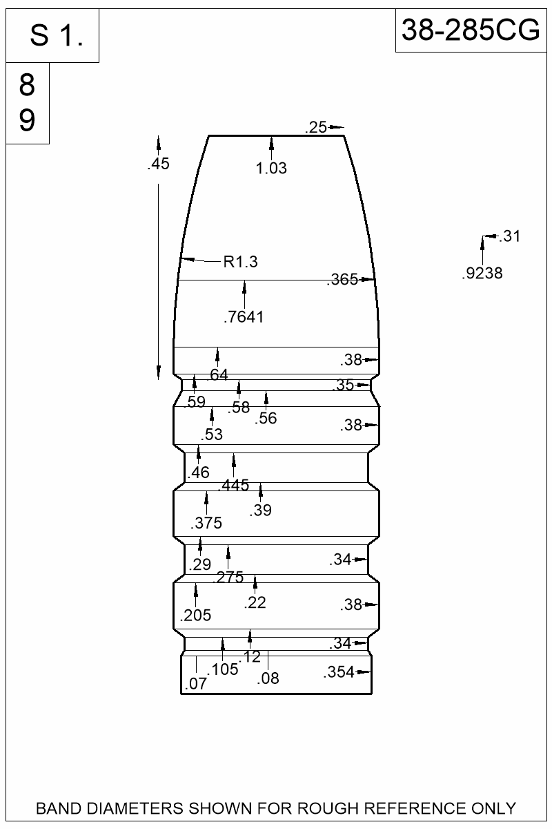 Dimensioned view of bullet 38-285CG.