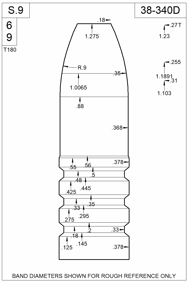 Dimensioned view of bullet 38-340D.