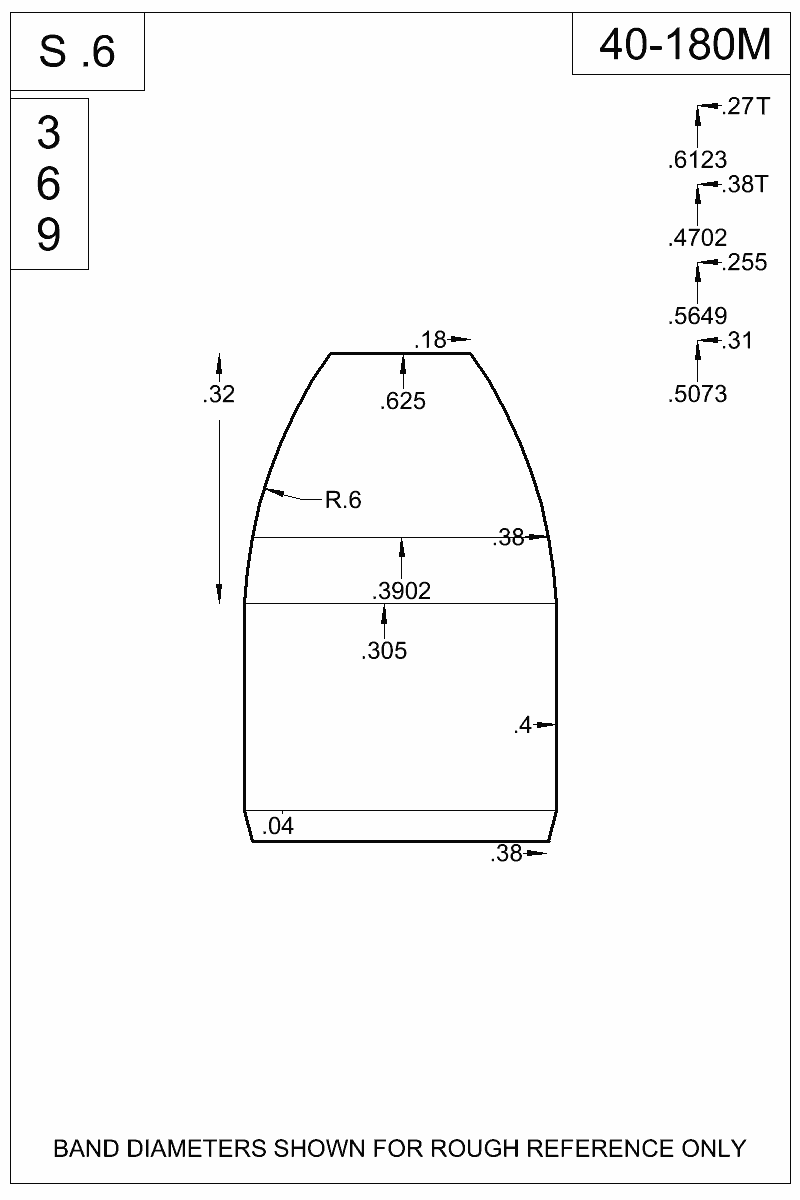 Dimensioned view of bullet 40-180M.