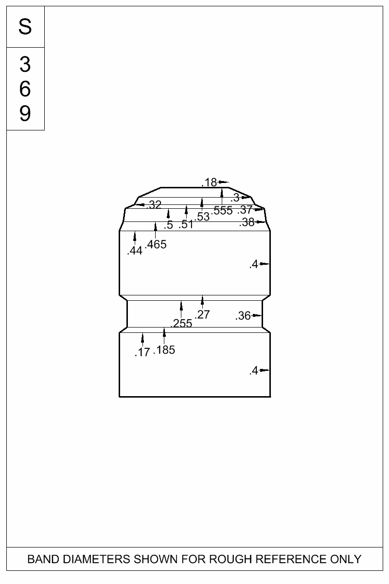 Dimensioned view of bullet 40-180W.
