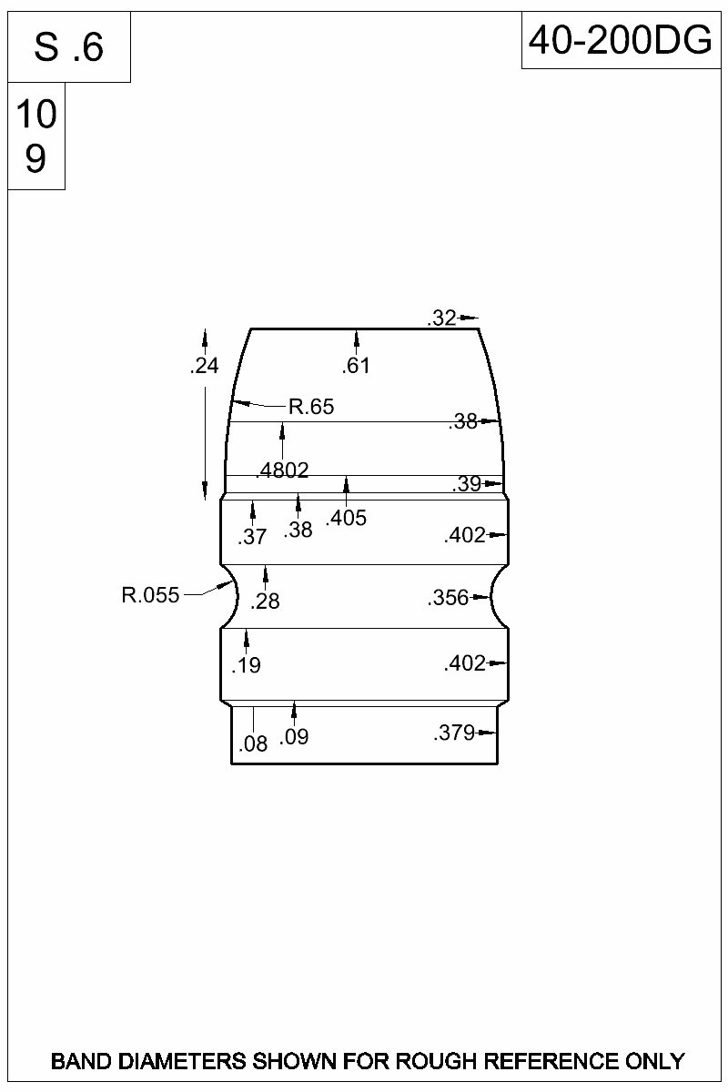 Dimensioned view of bullet 40-200DG.