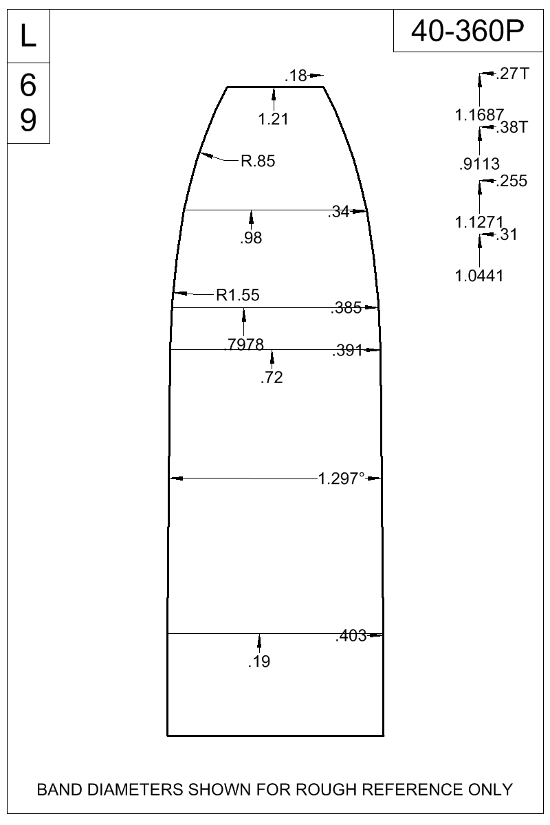 Dimensioned view of bullet 40-360P.
