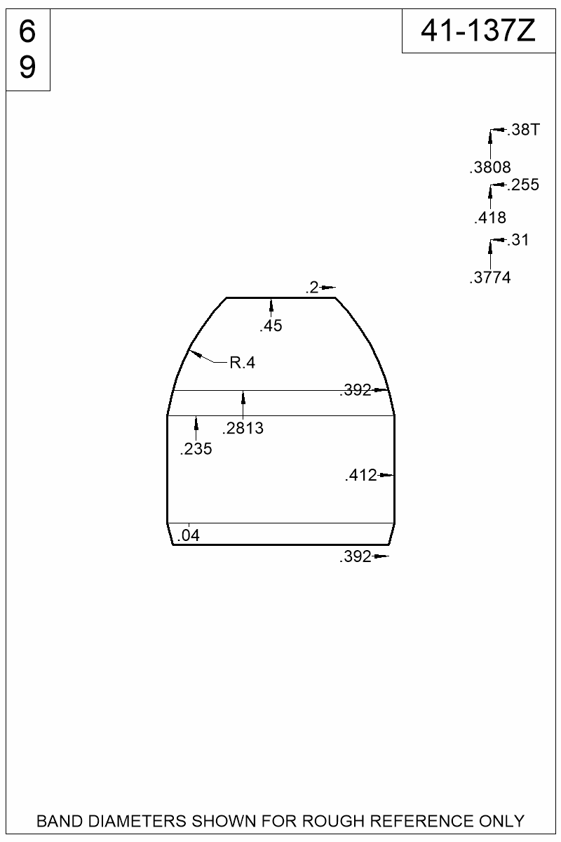 Dimensioned view of bullet 41-137Z.