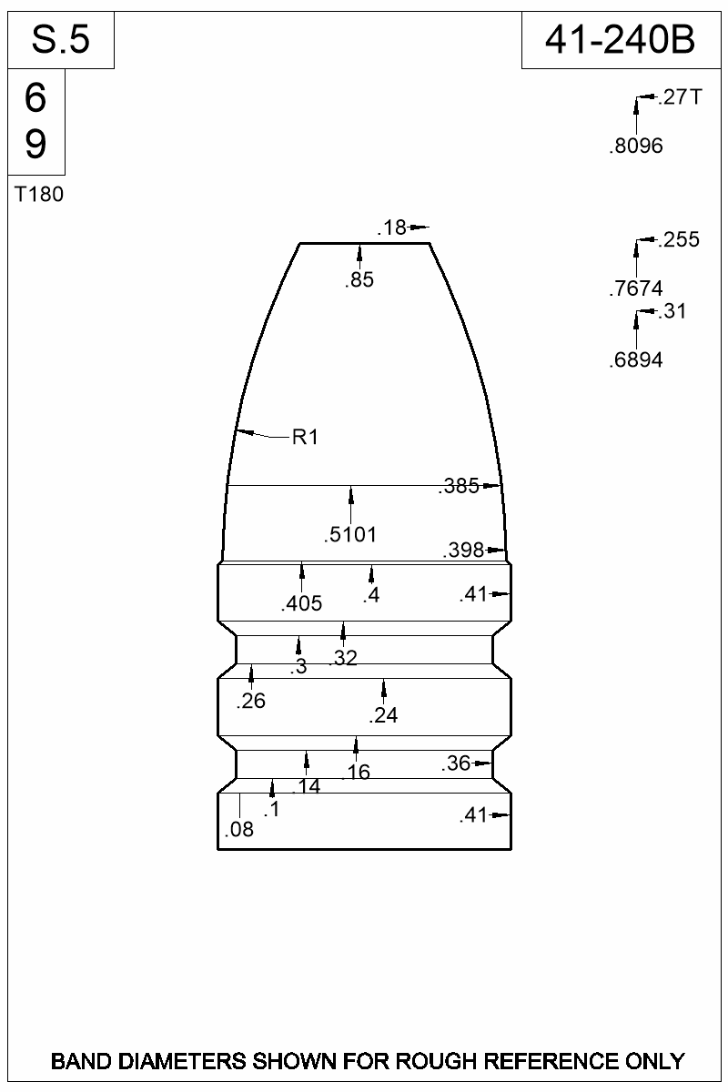 Dimensioned view of bullet 41-240B.