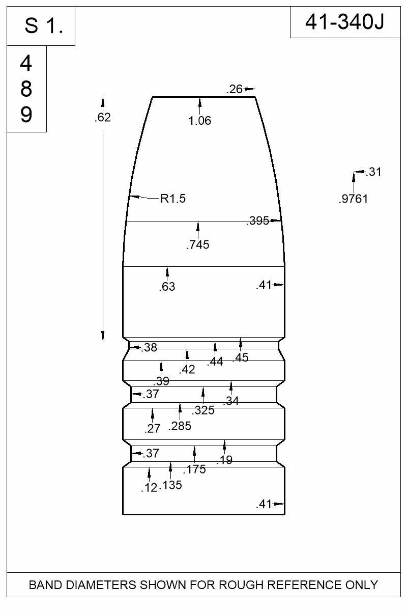 Dimensioned view of bullet 41-340J.