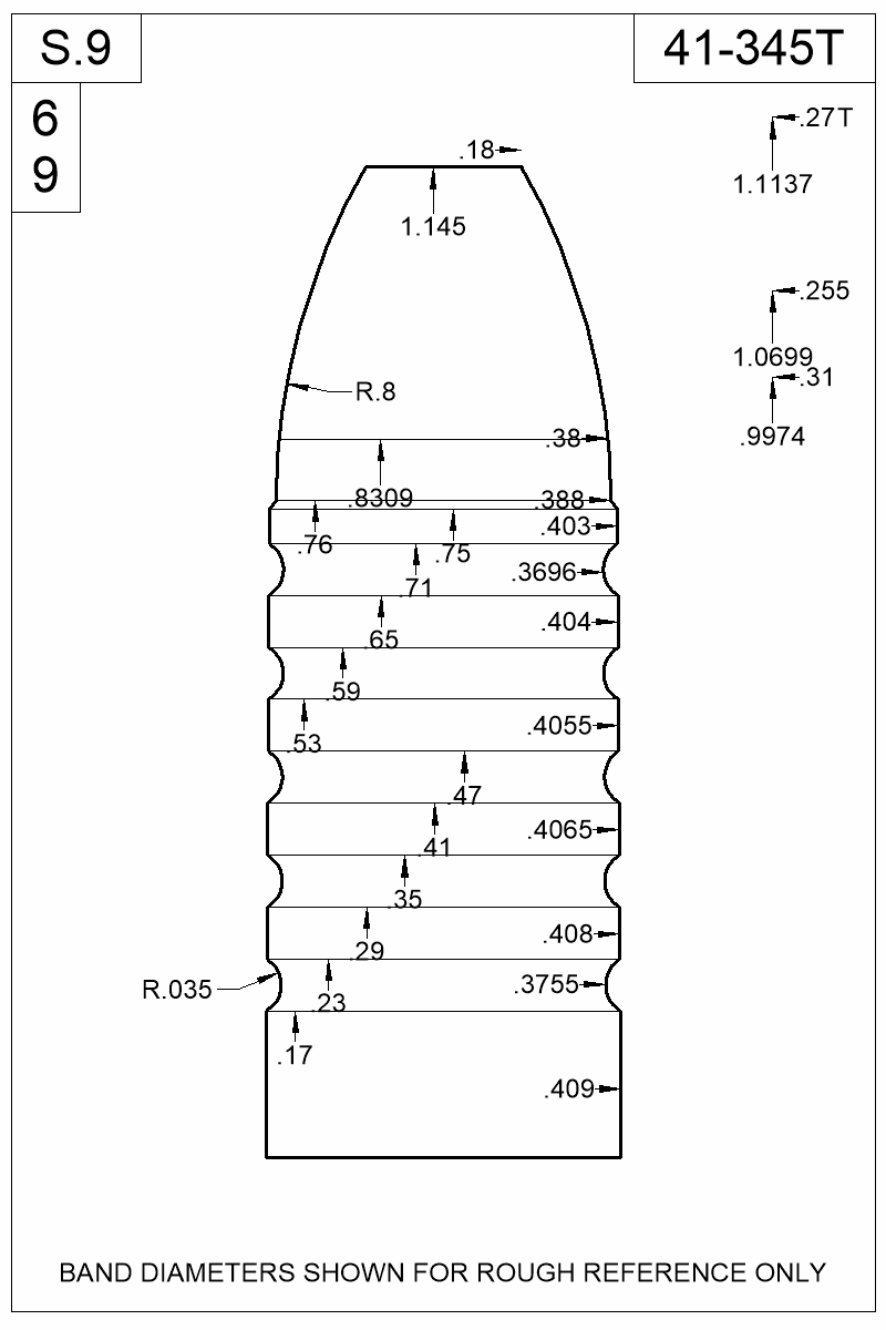 Dimensioned view of bullet 41-345T.