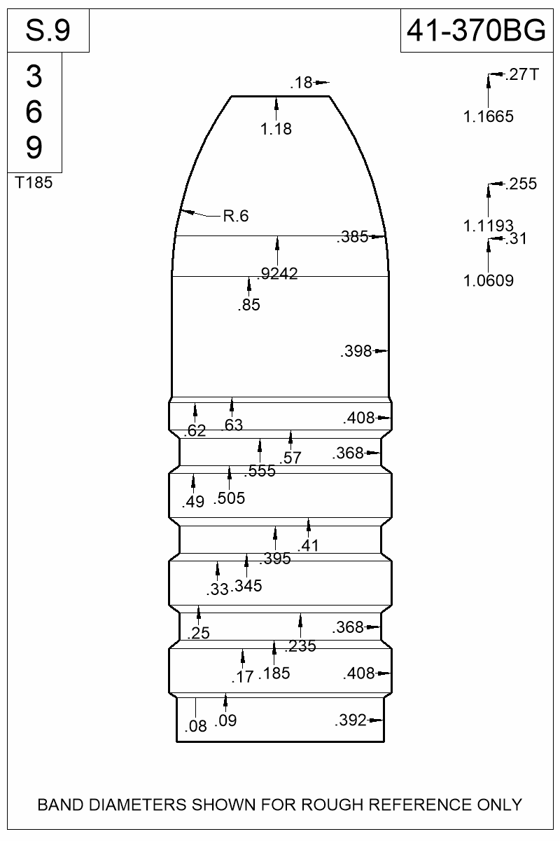 Dimensioned view of bullet 41-370BG.