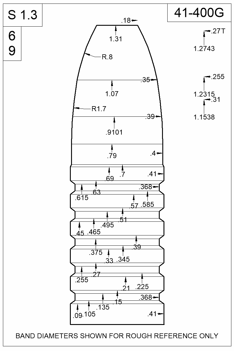 Dimensioned view of bullet 41-400G.