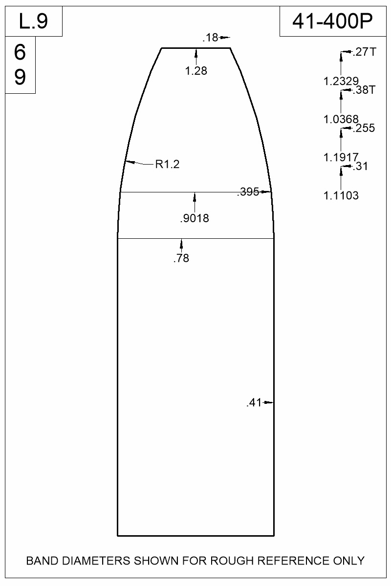 Dimensioned view of bullet 41-400P.