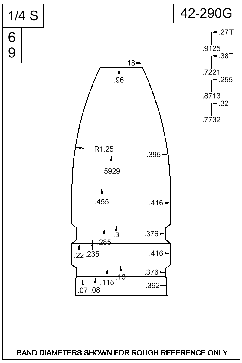 Dimensioned view of bullet 42-290G.