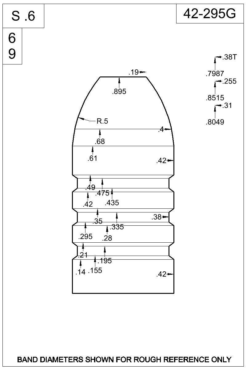 Dimensioned view of bullet 42-295G.