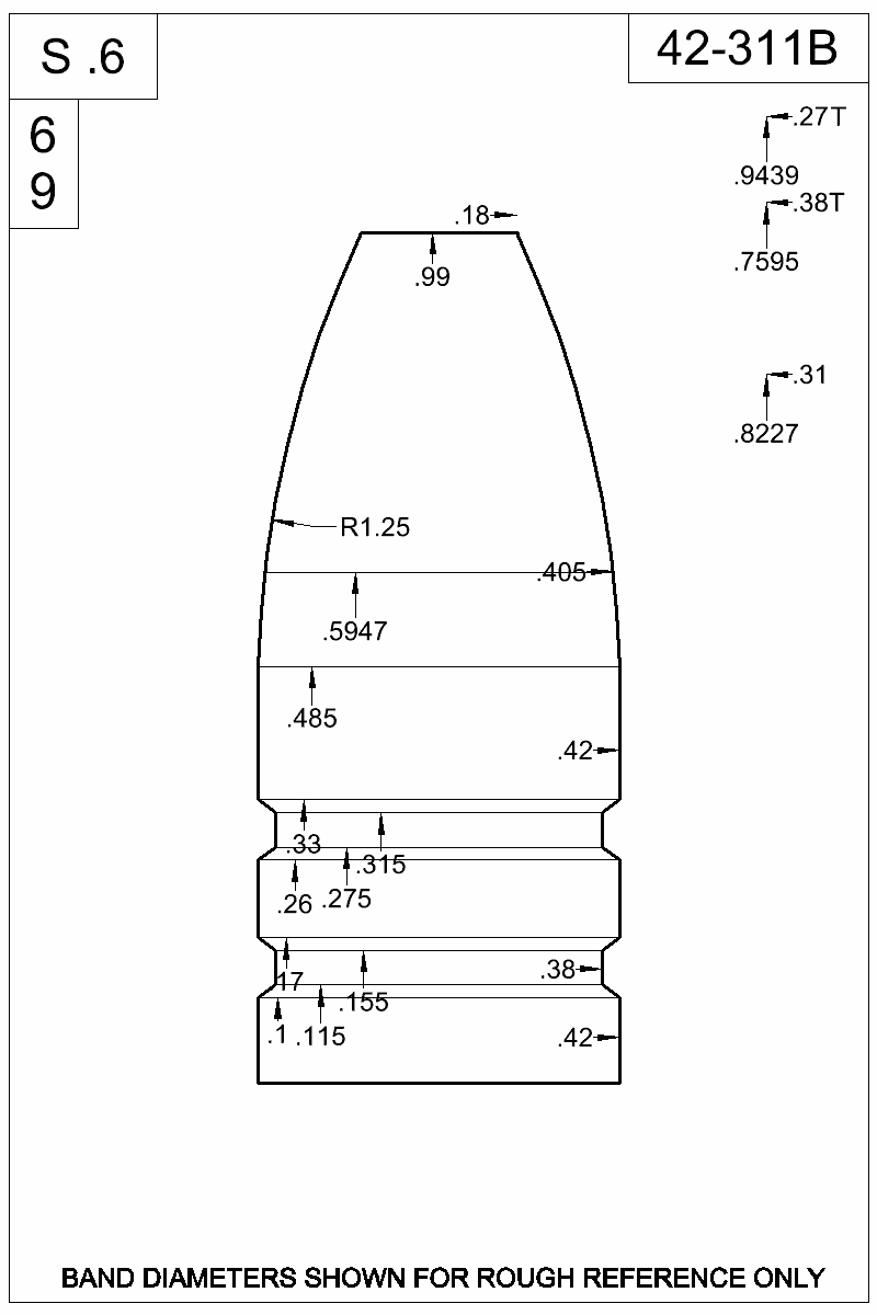 Dimensioned view of bullet 42-311B.