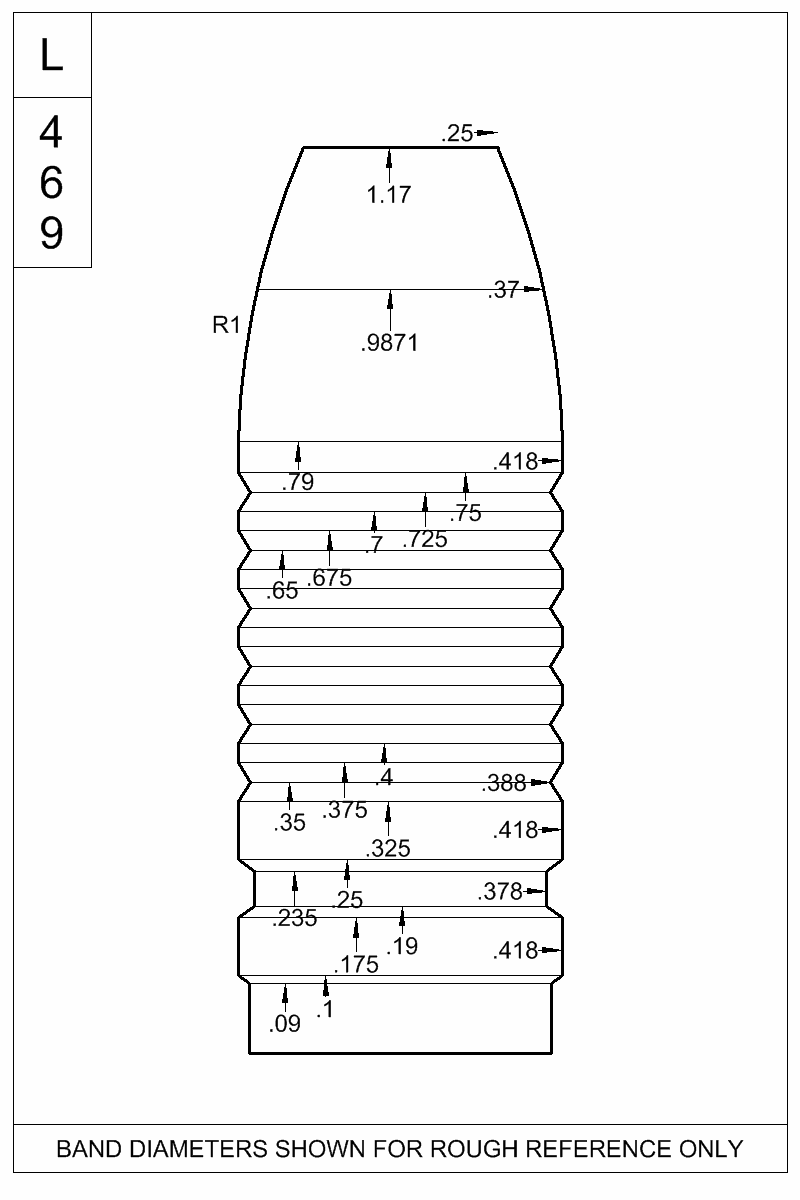 Dimensioned view of bullet 42-400T.