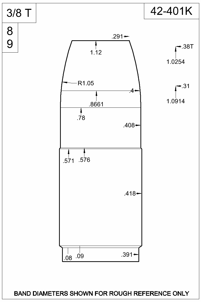 Dimensioned view of bullet 42-401K.