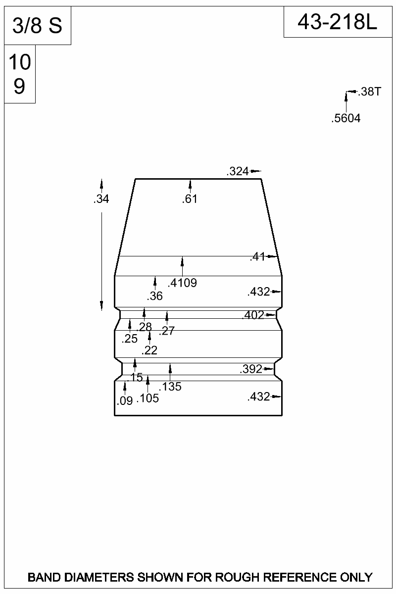 Dimensioned view of bullet 43-218L.