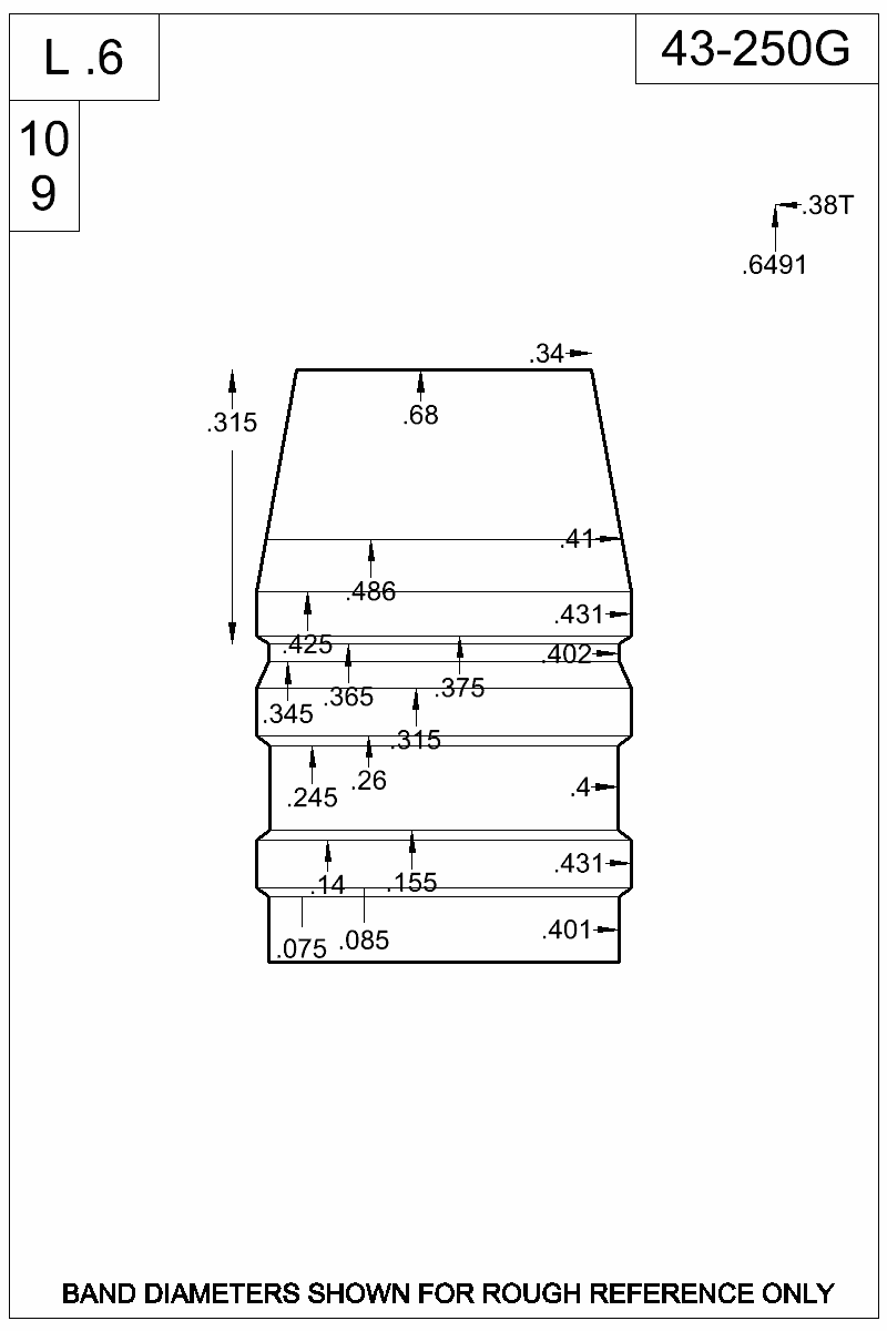 Dimensioned view of bullet 43-250G.