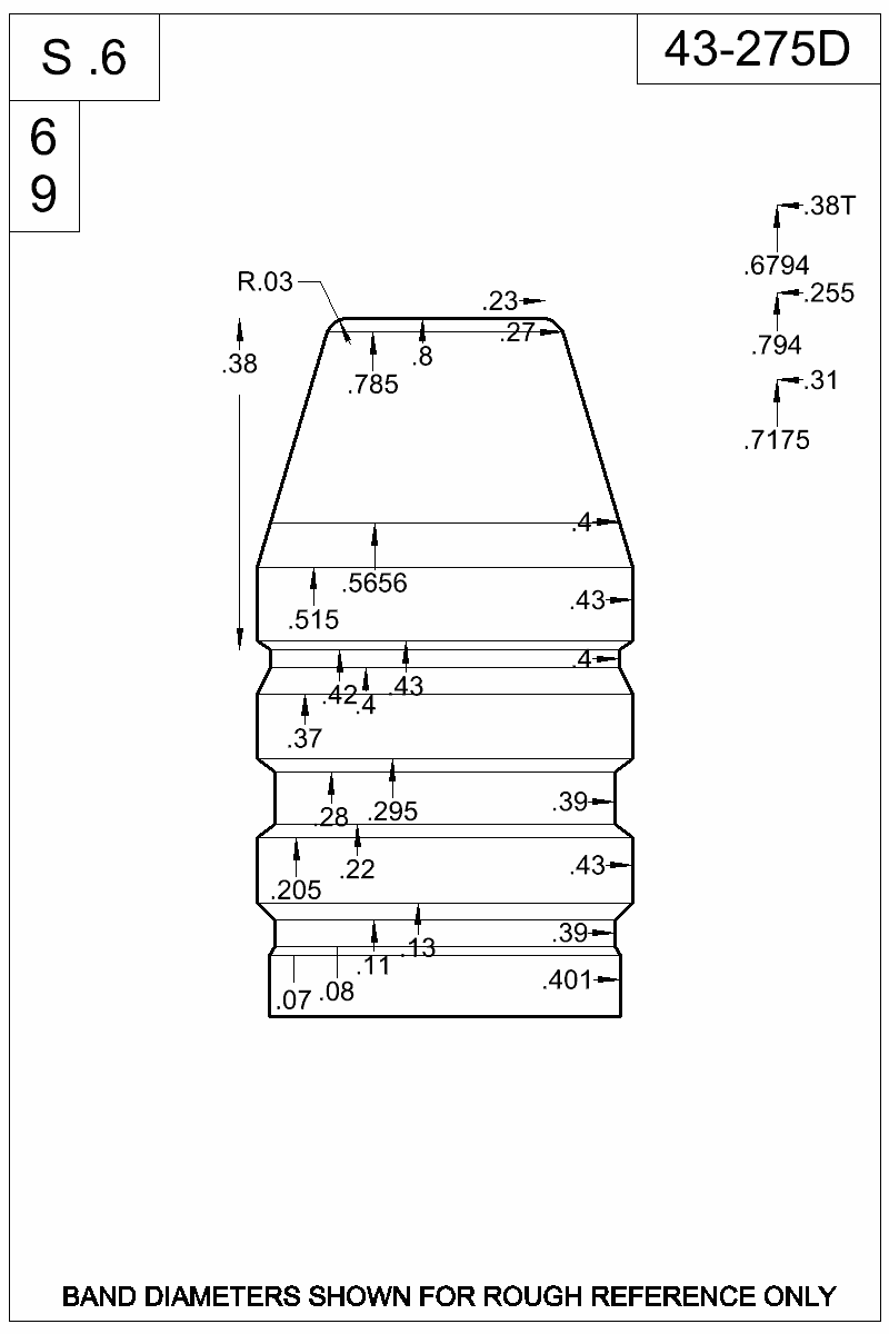 Dimensioned view of bullet 43-275D.