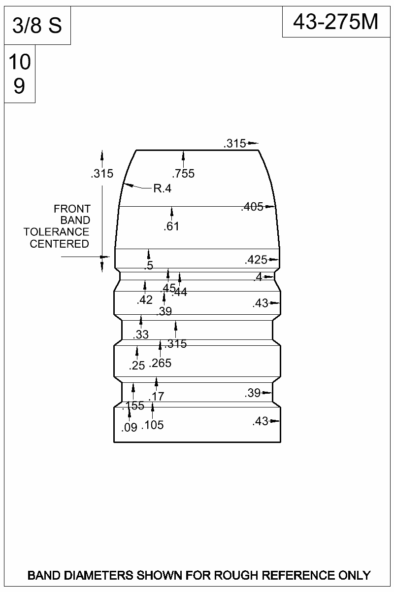 Dimensioned view of bullet 43-275M.