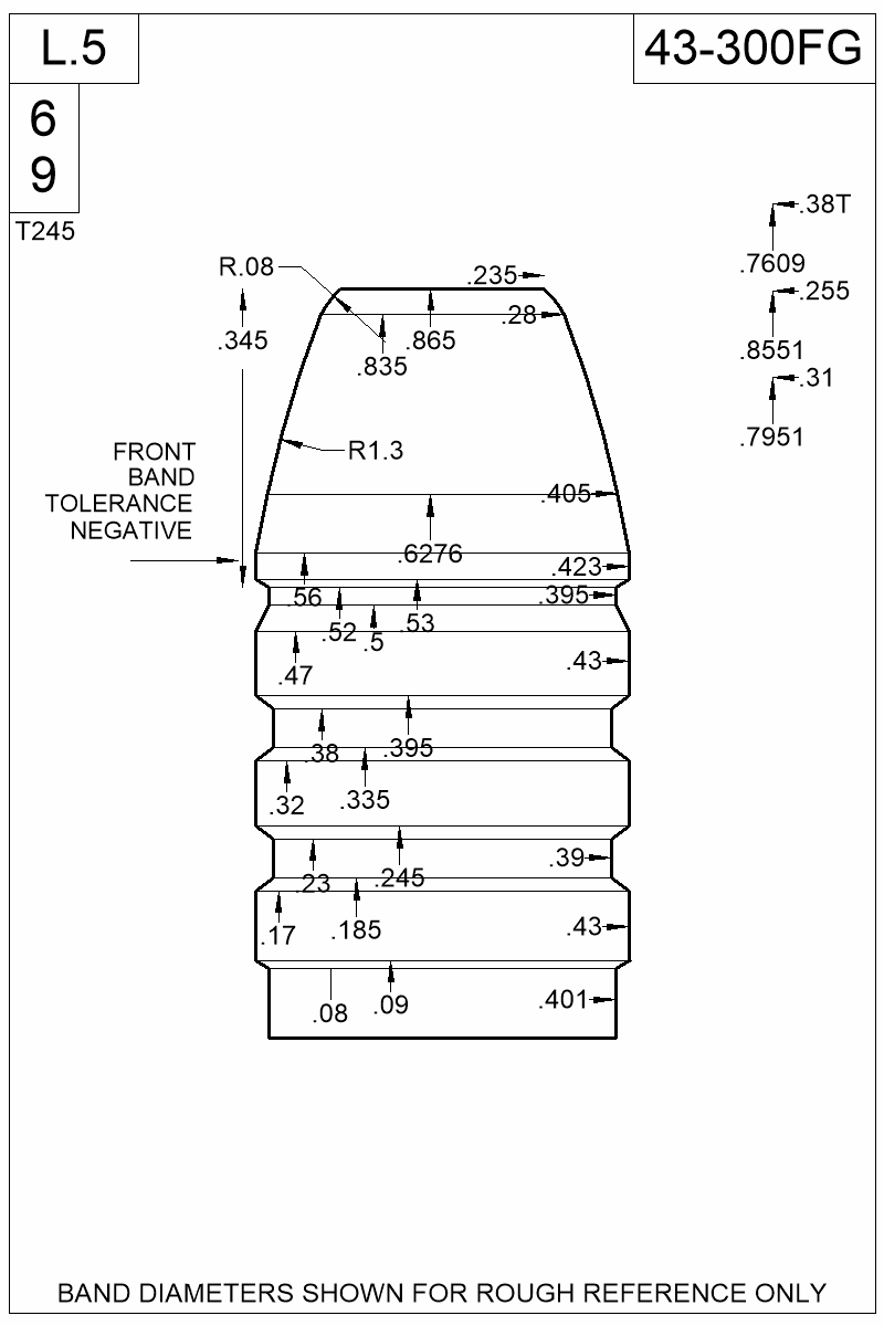 Dimensioned view of bullet 43-300FG.