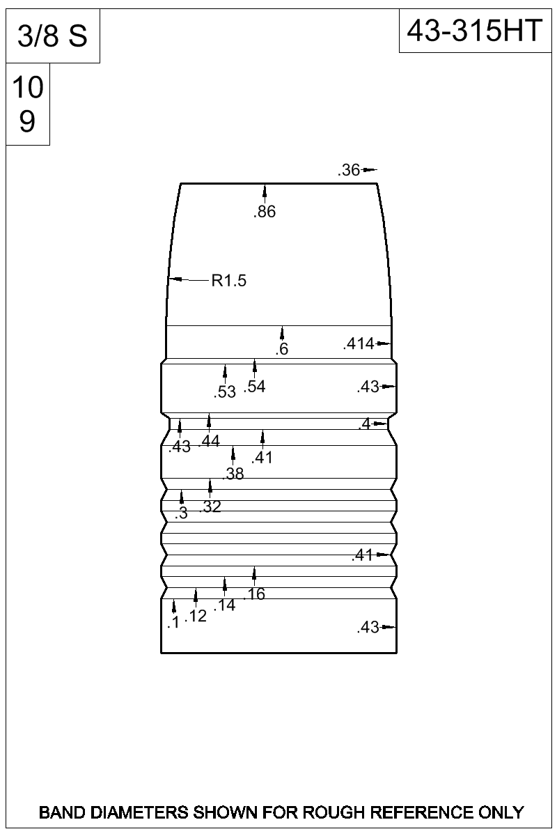 Dimensioned view of bullet 43-315HT.