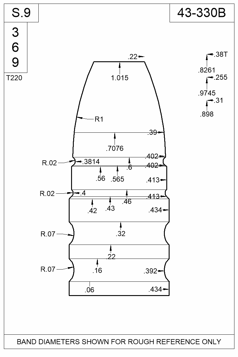 Dimensioned view of bullet 43-330B.