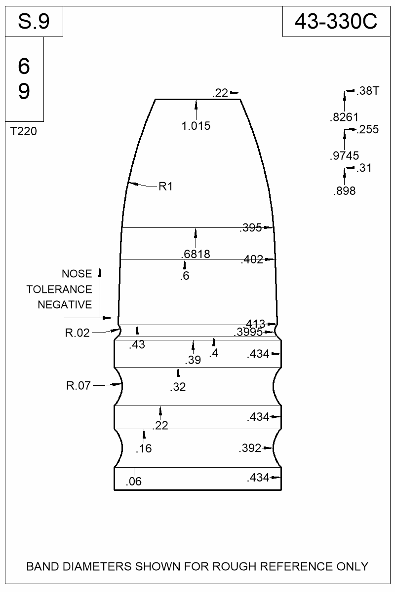 Dimensioned view of bullet 43-330C.