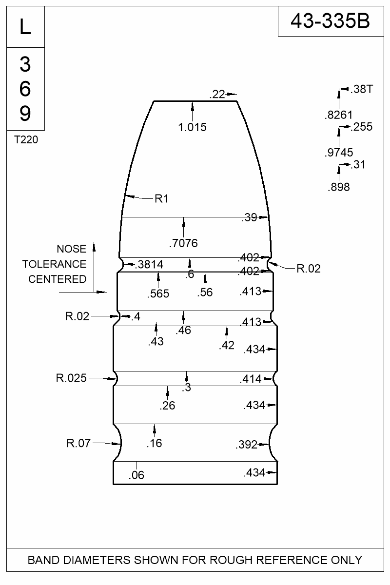 Dimensioned view of bullet 43-335B.