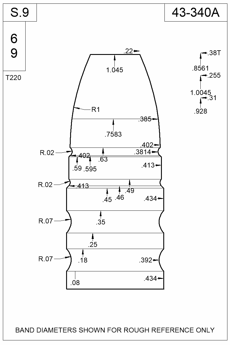 Dimensioned view of bullet 43-340A.