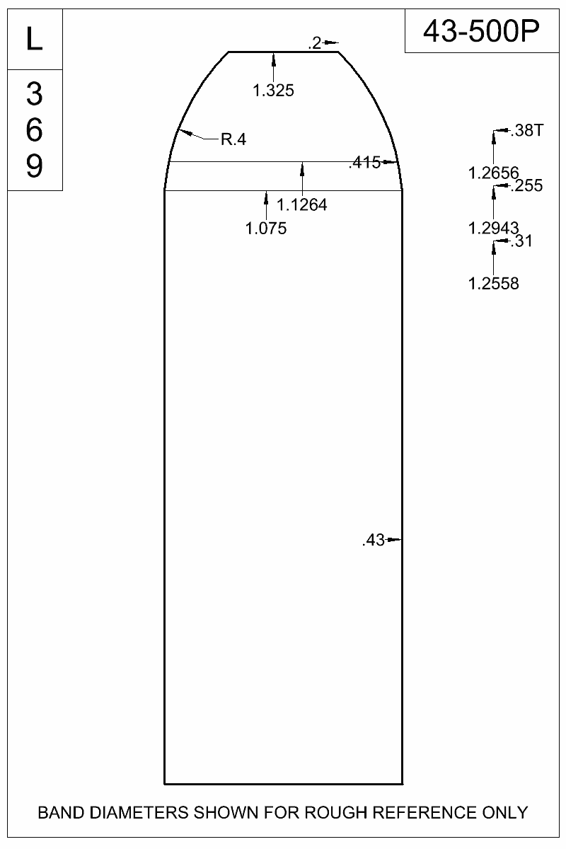 Dimensioned view of bullet 43-500P.