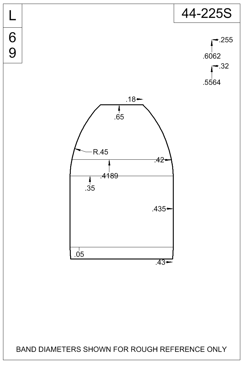 Dimensioned view of bullet 44-225S.