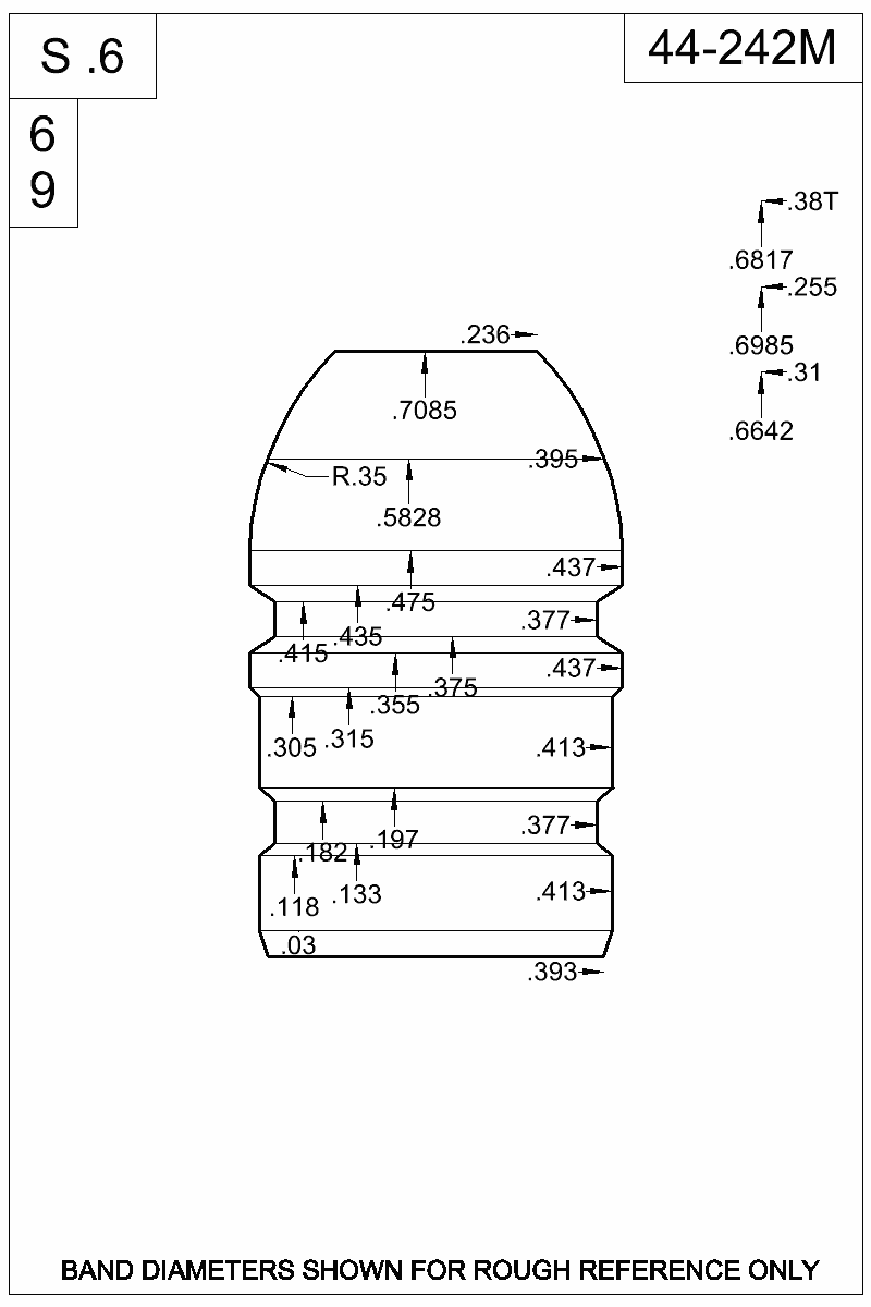 Dimensioned view of bullet 44-242M.