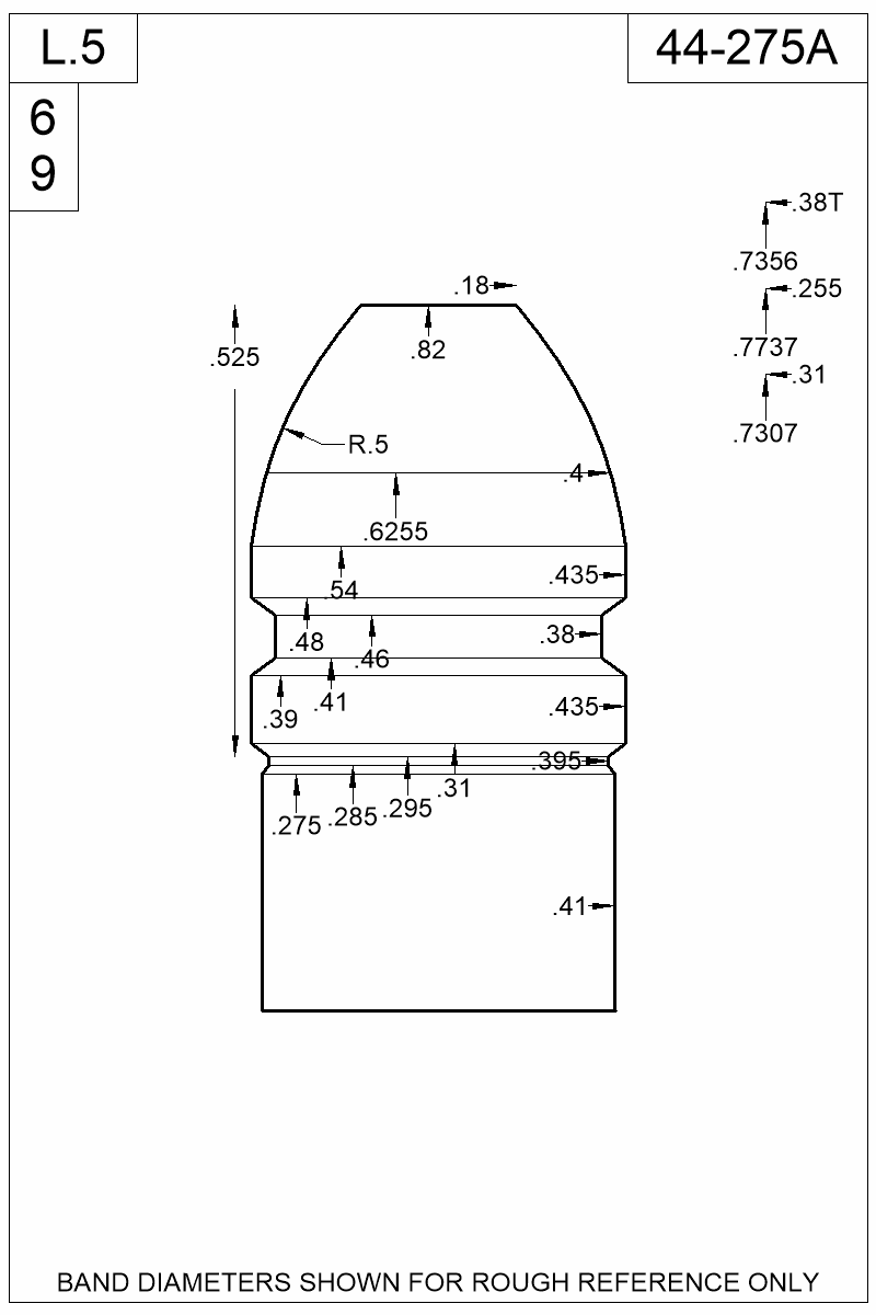 Dimensioned view of bullet 44-275A.