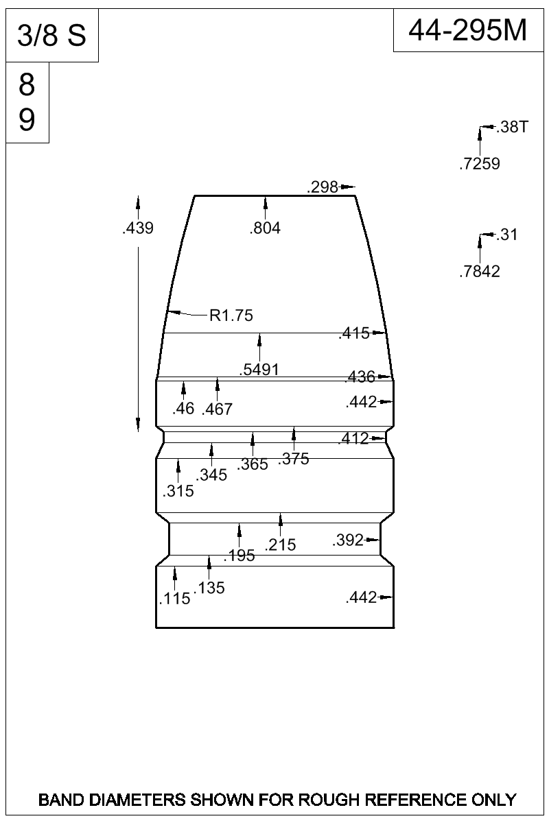Dimensioned view of bullet 44-295M.