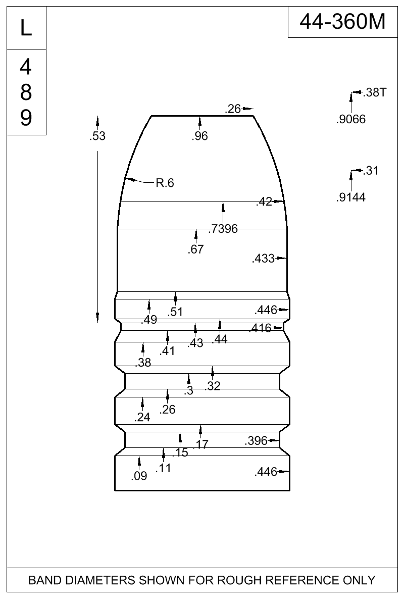 Dimensioned view of bullet 44-360M.