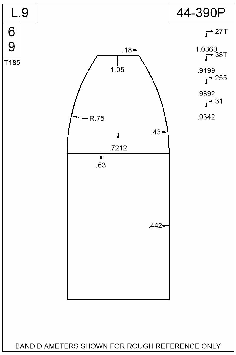 Dimensioned view of bullet 44-390P.