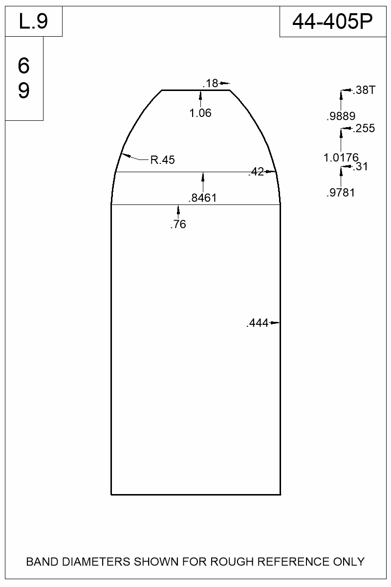 Dimensioned view of bullet 44-405P.
