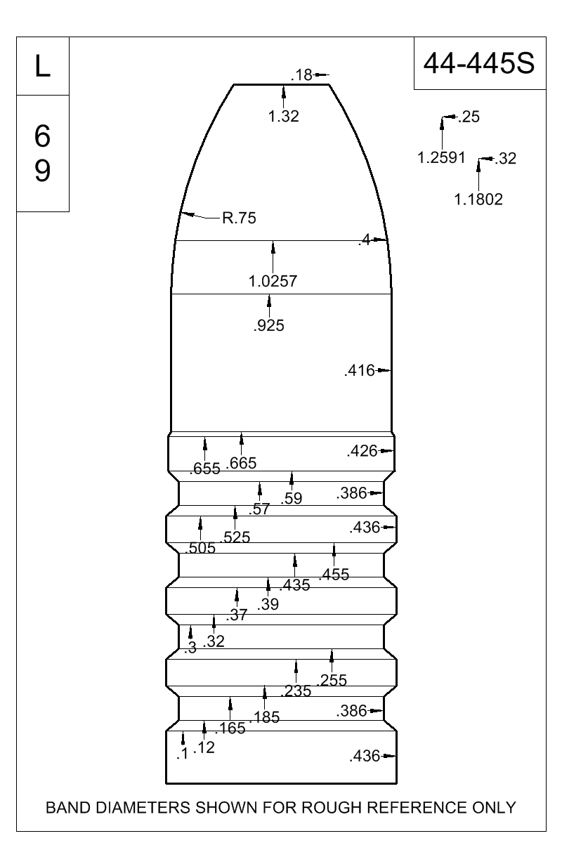 Dimensioned view of bullet 44-445S.