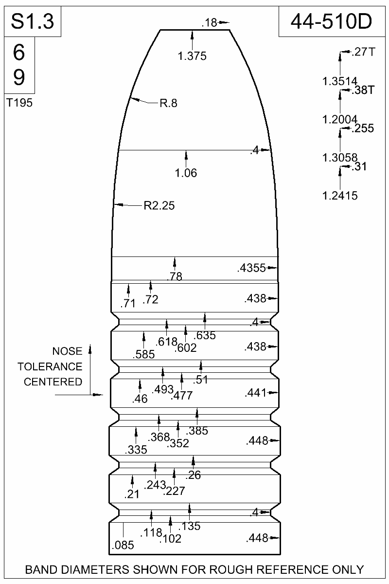 Dimensioned view of bullet 44-510D.