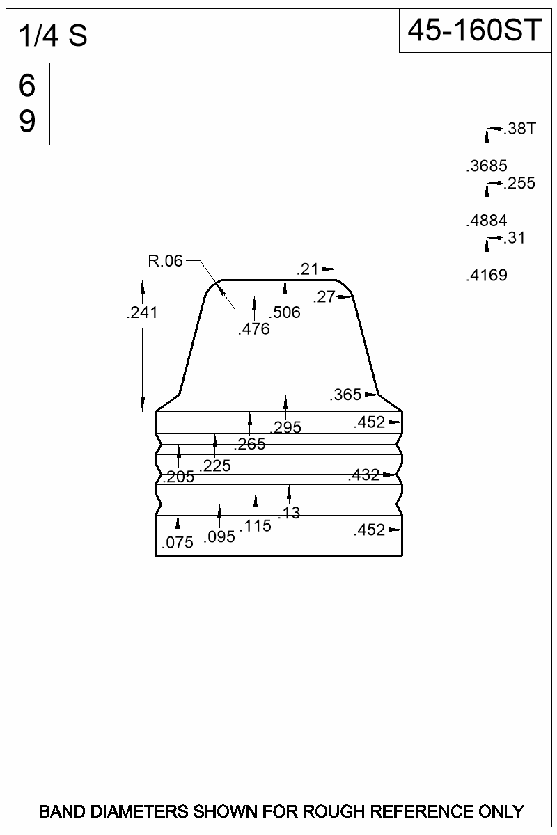 Dimensioned view of bullet 45-160ST.