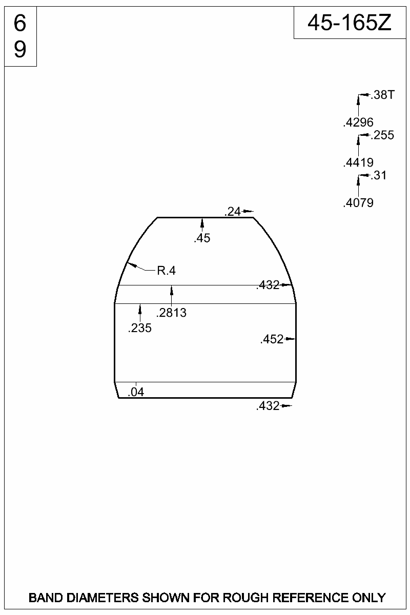 Dimensioned view of bullet 45-165Z.