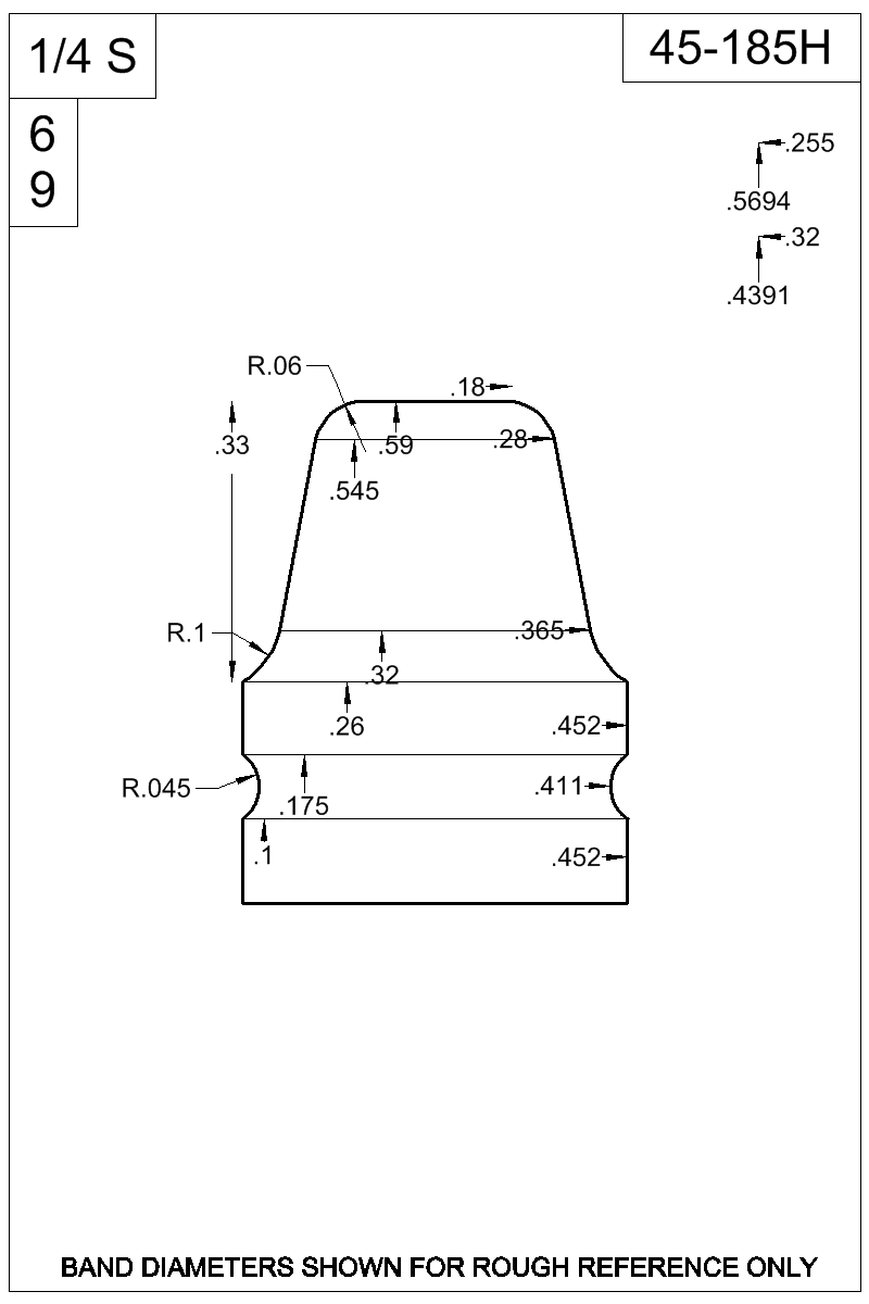 Dimensioned view of bullet 45-185H.