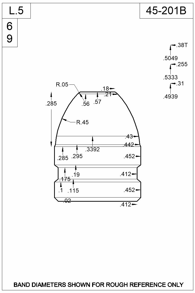 Dimensioned view of bullet 45-201B.