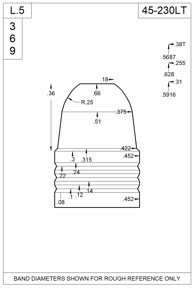 Dimensioned view of bullet 45-230LT.