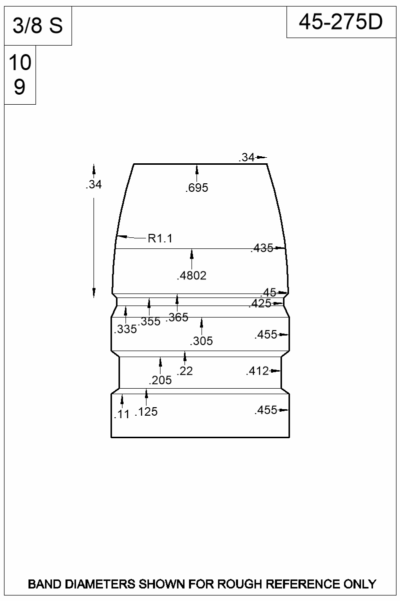 Dimensioned view of bullet 45-275D.