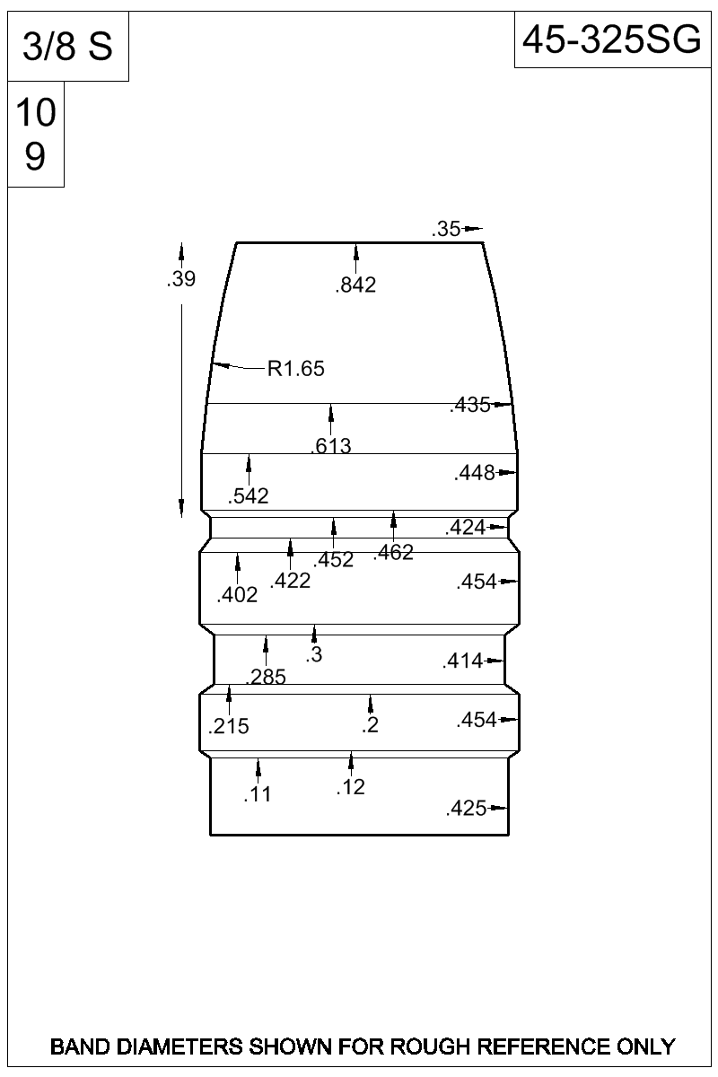 Dimensioned view of bullet 45-325SG.