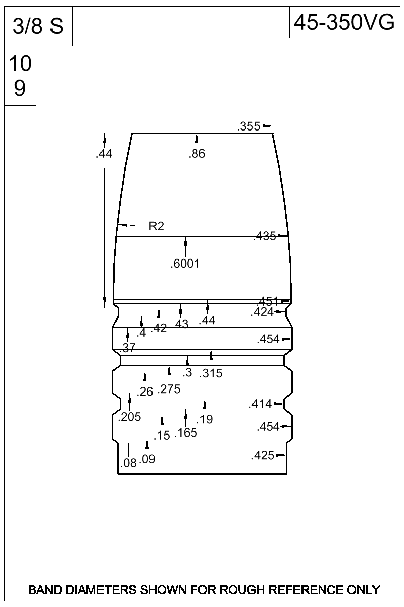 Dimensioned view of bullet 45-350VG.