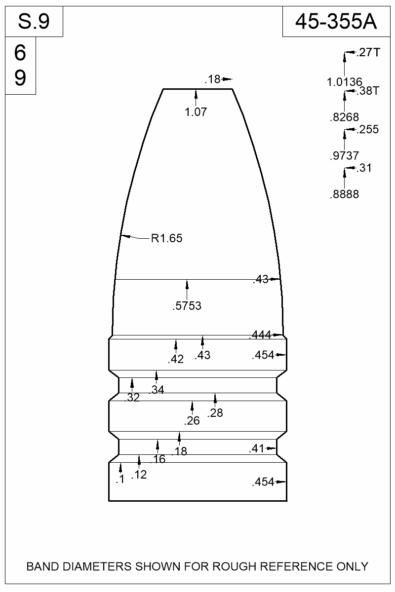 Dimensioned view of bullet 45-355A.